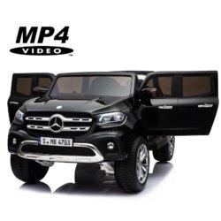 Электромобиль Mercedes-Benz X-Class 4WD MP4 черный (сенсорный дисплей, 2х местный, полный привод, резина, кожа, пульт, музыка)