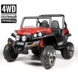 Электромобиль двухместный BUGGY S2588 Spider красный (полный привод, резиновые колеса, кожаное кресло, пульт)